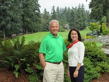 Stephen Zimmer and Dr. Melody Rose, new Marylhurst University president, pose against the beautiful backdrop of the golf course at Oswego Lake Country Club, home of the Marylhurst Golf Classic on Aug. 18.