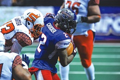 Photo Credit: COURTESY OF JOHN LARIVIERE - Portland Thunder defensive back Eric Crocker intercepts a pass intended for Spokane Shock wide receiver Nick Truesdell at the Thunder goal line during Saturdays regular-season finale at Moda Center.