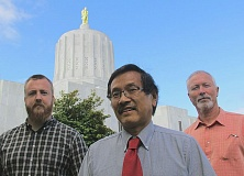 Photo Credit: COURTESY OF EO MEDIA - Veteran statehouse reporters Peter Wong, center, and Alan Gustafson, right, will be joined by Capital Press reporter Mateusz Perkowski, left, in the new Salem bureau for the EO Media and the Pamplin Media Group.