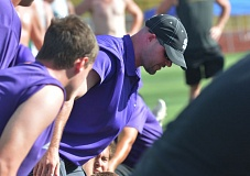 Photo Credit: TIMES PHOTO: MATT SINGLEDECKER - Sunset new head football coach Damien Merrick took over for Faustin Riley in the spring, but says not much will change during his time as head coach. Merrick coached offensive line for four years under Riley.