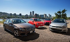 Photo Credit: TRIBUNE PHOTO JOHN M. VINCENT - The winners in the Northwest Green Vehicle of the Year competition included the Mercedes E250 Bluetec, the Fiat 500e, the Lexus CT200h and the overall winner, the 2015 Volkswagen Golf TDI.