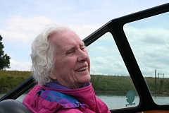 Photo Credit: PHOTO BY SHER JOHNSON - Gilman Park resident Betty Potters wish comes true during a boat ride up and down the Multnomah Channel near Sauvie Island.