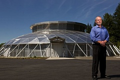 Photo Credit: TIMES PHOTO: JAIME VALDEZ - Perry Gliessman, Southwest Portland-based Oregon Health and Science University's director of advanced technology, stands in front of a geodesic dome that houses OHSU's new Data Center West in Aloha.