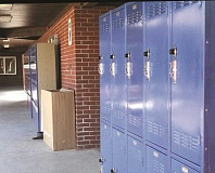 Photo Credit: LINDSAY KEEFER - Lockers stand in an open air hallway of Mount Angel Middle School, awaiting placement in the future seventh- and eighth-grade commons area, which won't be ready for the start of school Sept. 2.