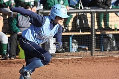 Photo Credit: COLUMBIA ATHLETICS - Emily Snodgrass begginning her run from first base to second base during her senior season on the Columbia University softball team.