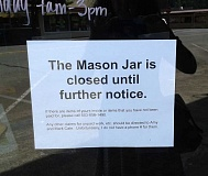 Photo Credit: ESTACADA NEWS PHOTO: ISABEL GAUTSCHI - This sign is hanging in the doorway of The Mason Jar.