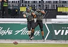 Photo Credit: COURTESY OF PORTLAND STATE UNIVERSITY - A defensive upgrade is a big part of Portland States plans for a big 2014 season. Among the units leaders are cornerback Aaron Sibley (left) and linebacker Brandon Brody-Heim, celebrating a defensive touchdown last year.