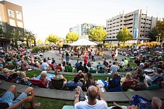 Photo Credit: CONTRIBUTED PHOTO: CITY OF BEAVERTON - Hundreds came out to take in the sounds of Pepe & The Bottle Blondes at the final Last Tuesday event of the 2014 season held at the North Plaza in The Round at Beaverton Central. The monthly music and art event is sponsored by the city of Beaverton and Beaverton Arts Commission.