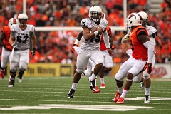 Photo Credit: TRIBUNE PHOTO: JAIME VALDEZ - Paris Penn, Portland State quarterback, breaks loose on a long run against Oregon State.