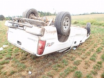 Photo Credit: COURTESY OF CLACKAMAS COUNTY SHERIFF'S OFFICE - This truck was flipped over by a Woodburn 18-year-old after he lost control while driving intoxicated Saturday.