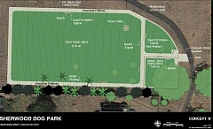 Photo Credit: COURTESY CITY OF SHERWOOD - Here's what a proposed dog park at Synder Park would look like. The area involved is three-quarters of an acre near the reservoir.