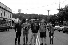 Photo Credit: ESTACADA NEWS PHOTO: ISABEL GAUTSCHI - These filmmakers will shoot a film adaptation of the Stephen King short story 'The Man Who Loved Flowers' in Estacada this fall. Pictured from left, Director of Photography Scott Ballard, Production Designer Ryan Woodring, Film Editor Zack Linkow, Writer/Director Justin Zimmerman and Producer Hailee Kendrick.