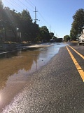 Photo Credit: COURTESY OF THE CITY OF PORTLAND - A section of Northeast Sandy Boulevard was closed Wednesday afternoon, Sept. 10, after a 16-inch water pipe broke and flooded the area.