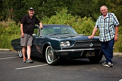 Photo Credit: TIMES PHOTO: JAIME VALDEZ - Jim Pickett and Joe Roberts found just the right vehicle, a 1966 Ford Thunderbird languishing for years in an Aloha garage, to spruce up and take on their upcoming trek from Chicago to Los Angeles in the path of old U.S. Route 66.