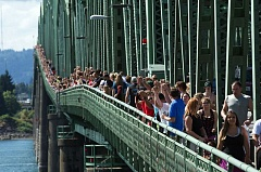 Photo Credit: COURTESY PHOTO - More than 3,000 people joined hands across the Interstate 5 bridge between Portland and Vancouver last year to celebrate the journey to addiction recovery. This years event is set for Sept. 13.