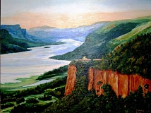 Photo Credit: CONTRIBUTED PHOTO - Sharon Hale Sandgrens acrylic painting of Crown Point in the Columbia River Gorge.