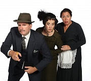 Photo Credit: SUBMITTED PHOTO: PAUL RICH - Hot on the trail of a killer in 'Whodunit ... the Musical' are (from left) Mike Dedarian as the detective; Debbie Hunter as Carrie Innes, the wealthy spinster who rents the summer cottage; and Jennifer Goldsmith as her cockney maid.