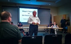Photo Credit: OUTLOOK PHOTO: CARI HACHMANN - Mayor Doug Daoust opened a town hall meeting Tuesday night, asking public for thoughts on a new city hall.