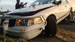 Photo Credit: KOIN 6 NEWS - This Portland police car was stolen and heavily damaged early Friday.