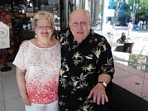 Photo Credit: COURTESY OF MICKEY AND KATHY SIEVERS - HAPPY DAYS - Kathy and Mickey Sievers are shown in a recent photo taken at the PacWest Center in downtown Portland where he plays the piano several times a month.