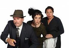 Photo Credit: PAUL RICH/BROADWAY ROSE THEATRE COMPANY - THE A TEAM - Hot on the trail of a killer in 'Whodunit... the Musical' are (from left) Mike Dedarian as the detective; Debbie Hunter as wealthy spinster Carrie Innes; and Jennifer Goldsmith as her cockney maid.