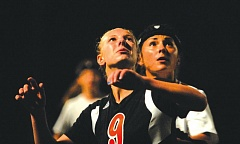 Photo Credit: THE OUTLOOK: DAVID BALL - Barlows Keely Fetters prepares to go up against Silvertons Baylie Cameron on a throw-in Thursday night.