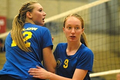 Photo Credit: THE OUTLOOK: DAVID BALL - Barlows Brynna Stauffer, 12, exchanges places on the court with teammate Bailey Burk during Tuesdays three-set loss at Clackamas.
