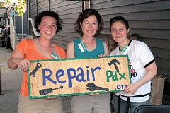 Photo Credit: DAVID F. ASHTON - All signs point to volunteers Lauren Gross, Cindy Correll, and Katie Pichette, at the September 14th Sellwood Repair Café at Portland Homestead Supply.