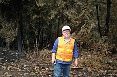 Photo Credit: ESTACADA NEWS PHOTO: ISABEL GAUTSCHI - Don Hamilton, a public information officer for ODOT, examines a charred stretch of trees along Highway 224 on Sept. 25.