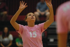 Photo Credit: THE OUTLOOK: DAVID BALL - Mt. Hood CC setter Trisha Johnson pops a ball into the air during the Saints three-set home loss to Linn-Benton on Friday night.