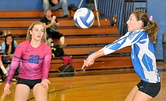 Photo Credit: SETH GORDON - Bumpin' - Logan Robinson collects one of her eight digs during St. Paul's 3-1 victory over East Linn Christian Academy on Oct. 2. The Bucks went 4-1 playing five games in seven days.