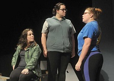 Photo Credit: GARY ALLEN - New play - From left: Katie Wight, Nicole Greene and Sydney Thompson rehearse for George Fox University's production of 'Twelfth Night' which opens Oct. 23. The classic play is directed by Megan Weaver, a Newberg native and GFU alum.