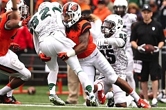 Photo Credit: TRIBUNE PHOTO: JAIME VALDEZ - Steve Nelson, senior cornerback, made an impact quickly last season at Oregon State, after transferring from College of the Sequoias, and he has improved significantly this year, say Beaver coaches and analysts.