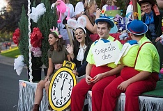 Photo Credit: SPOKESMAN PHOTO: JOSH KULLA - The Alice in Wonderland float featured all the main characters from the book and also a tea party.