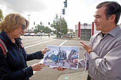 Photo Credit: TRIBUNE PHOTO: JAIME VALDEZ - Portland planning bureau spokeswoman Eden Dabbs and city planner Bill Cunningham compare an artist's rendering of what the corner of Southeast Division Street and 82nd Avenue might look like in the future with what it looks like now.