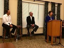 Photo Credit: TIMES PHOTO: CAITLIN FELDMAN - Mayoral candidate Jan Giunta spoke to a full room at Marquis Tualatin on Tuesday night about her vision and hopes for Tualatin, while incumbent Mayor Lou Ogden and incumbent City Councilor Wade Brooksby looked on.