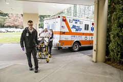 Photo Credit: SUBMITTED PHOTO - A heart failure patient is brought into Legacy Meridian Park Medical Center on a stretcher. By working with skilled nursing facilities and primary care clinics, the hospital has been able to reduce the return rate of heart failure patients by 95 percent.