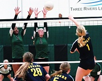Photo Credit: DAN BROOD - DOUBLE TROUBLE -- Tigard HIgh School seniors Sasha Hershey (11) and Kaylie Boschma go up way above the net to block a shot by Canby's Haley Patterson during last week's Three Rivers League match. The Tigers swept the Cougars, 3-0.