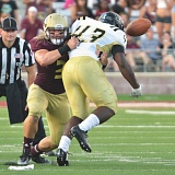 Photo Credit: DON ANDERS, TEXAS STATE ATHLETICS - Texas State senior Linebacker David Mayo (3) knocks the ball away from University of Arkansas-Pine Bluff running back Michael Wilson in the 2014 season opener.