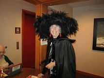 Photo Credit: SUBMITTED PHOTO - Liz Woodman has donned her spookiest costume for the Halloween luncheon to be served Oct. 31. Get a costume pulled together now.