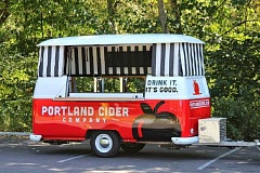 Photo Credit: SUBMITTED PHOTO - Portland Cider Company recently introduced its Cider Wagon to Portland-area residents. The colorful trailer, reminiscent of a retro VW van, serves as a mobile taproom from which the company offers pours of its variety of ciders. Our cider, like the city of Portland itself, is uniquely special, Jeff Parrish, Portland Cider Company owner and chief ciderist, said. The Cider Wagon is the perfect, fun complement to our lineup of cider varieties. We find it is a great way to introduce people to our products at local events and festivals. The Portland Cider Company was started in October 2012 by an Oregonian and a family of British expats with the mission of bringing cider, handcrafted in the English tradition, to the Northwest. Learn more online at portlandcider.com.