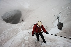 Photo Credit: ERIC GUTH, COURTESY OF OPB  - Oregon Field Guide explores glacier caves on Mount Saint Helens in season premiere.