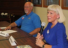 Photo Credit: HOLLY M. GILL - Commission candidates Mae Huston and Tom Brown answer questions during a candidate forum last week.
