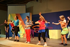 Photo Credit: CONTRIBUTED PHOTO: CCT - The colorful and lively 'School House Rock Live!' production features a cast and crew of 47 East County students. Allie Byrne, center, plays frazzled first-year teacher Ms. Mizer in the musical.