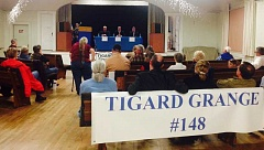 Voters listen during Thursday's Candidate Forum at the Tigard Grange. The forum is the last before November 4's election.