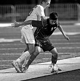 Photo Credit: VERN UYETAKE - West Linn's Jason Sandoval scored a goal in the Lions' recent 4-0 win over Sherwood. The Lions are now 6-0 in league with one game remaining