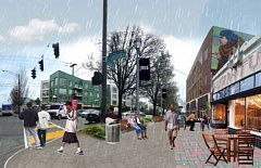 Photo Credit: COURTESY PORTLAND BUREAU OF PLANNING AND SUSTAINABILITY - Artists rendition of how Southeast 8nd Avenue and Division Street could developed under the Comprehensive Plan update.