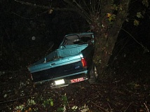 Photo Credit: COURTESY OF THE OREGON STATE POLICE - The pickup truck driven off the road by a 16-year-old south of Vernonia. The driver and two passengers were hospitalized with injuries after the single-vehicle crash Saturday night, Oct. 25.