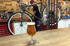 Photo Credit: COURTESY: NICK FARINA - Serving beer is helping to save some bicycle repair businesses in Portland.