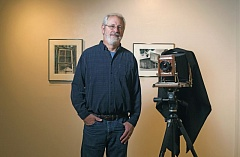 Photo Credit: TIMES PHOTO: JONATHAN HOUSE - Tigard photographer Loren Nelson with his large format camera at the Helzer Art Gallery at Portland Community College's Rock Creek Campus.